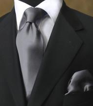Luciano Ferretti 100% Satin Silk Necktie with Pocket Square - Dark Grey