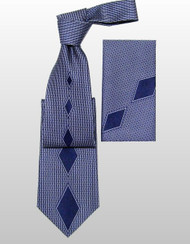 Outlet Center: Pantani 100% Silk Woven Tie - Blue Diamonds
