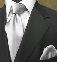 Antonio Ricci 100% Satin Silk Tie - Silver