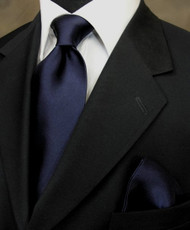 Antonio Ricci 100% Satin Silk Tie - Dark Navy