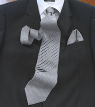 Pantani 100% Woven Pleated Silk Tie with Pocket Square - Grey Weave