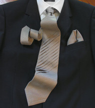 Pantani Front Diagonal Pleated 100% Woven Silk Tie - Taupe Weave
