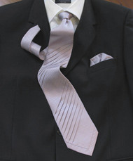 Outlet Center: Pantani Double Diagonal Pleated 100% Woven Silk Tie - Lilac Weave