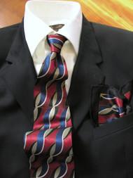 Fabio Fazio 100% Silk Tie with Matching Pocket Square - Burgundy Ribbon Design