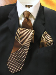Fabio Fazio 100% Silk Tie with Matching Pocket Square - Tan Optical