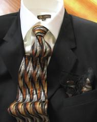 Fabio Fazio 100% Silk Tie with Matching Pocket Square - Bronze Abstract