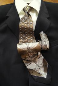 Fabio Fazio 100% Silk Tie - Tan Baroque Design