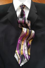 Fabio Fazio 100% Silk Tie - Streamer and Dot Design