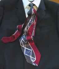 Gianni Vasari 100% Printed Silk Tie - Charcoal & Burgundy