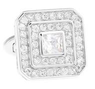 Crystal Square Center & Diamond Swarovski® Crystal Cufflinks (V-CF-C1310C-S)