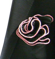Antonio Ricci 2-in-1 Pouf Crinkle Pocket Square - Pink on Black