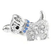 Diamond Crystal Small Dog Cufflinks (V-CF-C70682BL)