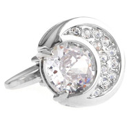 Diamond Swarovski® Crystal Moon Shape Cufflinks (V-CF-C40411C-S)