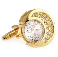 Diamond Swarovski® Crystal Moon Shape Gold Cufflinks (V-CF-C40411C-G)