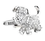 Diamond Swarovski® Crystal Puppy Dog Cufflinks (V-CF-C61618C)