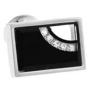 Glass Encased Swarovski® Crystal Rectangle Cufflinks (V-CF-C63608B-S)