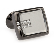 Glass Encased Swarovski® Crystal Tungsten Cufflinks (V-CF-C65273-T)