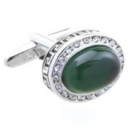 Green Glass Cabochon Crystal Cufflinks (V-CF-C51546GR)