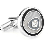 Grey and Black Design Crystal Cufflinks (V-CF-C56995-B)