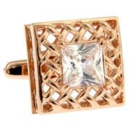 Large Princess Diamond Crystal Rose Gold Cufflinks (V-CF-C30113C-RG)