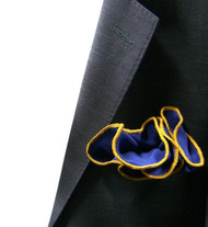 Antonio Ricci 100% Silk 2-in-1 Pouf Pocket Square - Gold on Blue