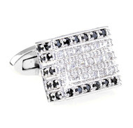 Luxury Pave Diamond & Black Swarovski® Crystal Cufflinks (V-CF-C5365C-S)