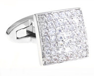Luxury Pave Diamond Swarovski® Crystal Silver Cufflinks (V-CF-C1900C-S)