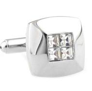 Petite 4-Diamond Crystal Square Cufflinks (V-CF-C40320C)