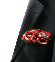 Antonio Ricci 100% Silk 2-in-1 Pouf Pocket Square - Red on Olive