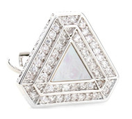 Triangular Diamond Encrusted Swarovski® Crystal & MOP Cufflinks (V-CF-C1300CM-S)
