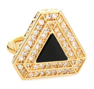 Triangular Diamond Encrusted Swarovski® Crystal & Onyx Cufflinks (V-CF-C1300BO-G)