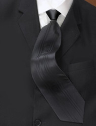 Antonio Ricci Vertical Pleated 100% Silk Tie - Black