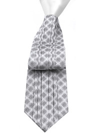 Antonio Ricci Vertical Pleated 100% Silk Tie - Grey Design with White Knot