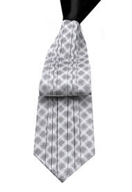 Antonio Ricci Vertical Pleated 100% Silk Tie - Grey Design with Black Knot