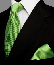Antonio Ricci Satin Microfiber Diagonal Pleated Tie with Pocket Square - Lime