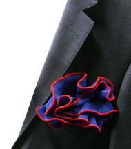 Antonio Ricci 100% Silk 2-in-1 Pouf Pocket Square - Red on Blue