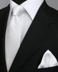Antonio Ricci Satin Microfiber Diagonal Pleated Tie with Pocket Square - White