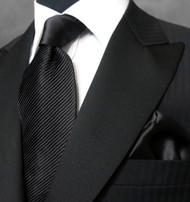 Antonio Ricci Satin Microfiber Diagonal Pleated Tie with Pocket Square - Black