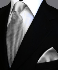 Antonio Ricci Satin Microfiber Diagonal Pleated Tie with Pocket Square - Grey