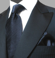 Antonio Ricci Satin Microfiber Diagonal Pleated Tie with Pocket Square - Dark Navy