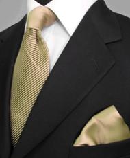Antonio Ricci Satin Microfiber Diagonal Pleated Tie with Pocket Square - Tan