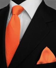 Antonio Ricci Satin Microfiber Diagonal Pleated Tie with Pocket Square - Orange