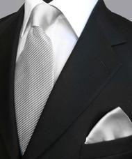 Antonio Ricci Satin Microfiber Diagonal Pleated Tie with Pocket Square - Silver