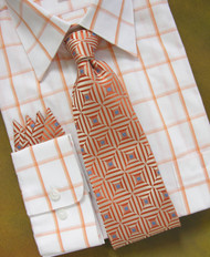 Antonio Ricci 100% Silk Woven Tie - Melon Square Design