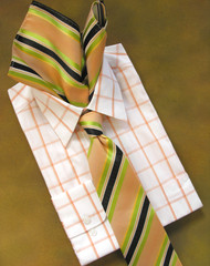 Antonio Ricci 100% Silk Woven Tie - Green & Melon Tone Stripes