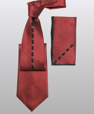 Antonio Ricci 100% Silk Woven Tie - Red with Center Rectangles