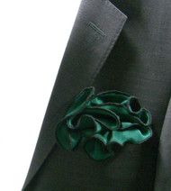 Antonio Ricci 100% Silk 2-in-1 Pouf Pocket Square - Black on Dark Green