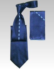 Antonio Ricci 100% Silk Woven Tie - Blue Center Rectangles