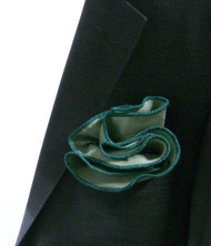 Antonio Ricci 100% Silk 2-in-1 Pouf Pocket Square - Green on Light Green