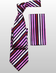 Antonio Ricci 100% Silk Woven Tie - Pink Diagonal Stripes